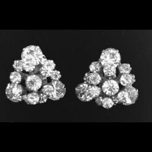 VINTAGE Magnificent Triangle Rhinestone Earrings